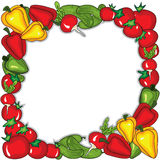 Abstract vegetables  frame. Vector illustration background.  Place for your text Royalty Free Stock Photos