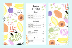 Abstract vegetarian menu template. Fruits and plants in hand drawn style Stock Image