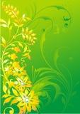 Abstract vegetatief ornament op een groene achtergrond Royalty-vrije Stock Foto's