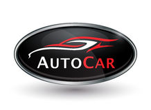 Abstract vehicle logo of chrome badge with sports car silhouette Royalty Free Stock Photography