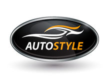 Abstract vehicle logo of chrome badge with sports car silhouette Stock Photography