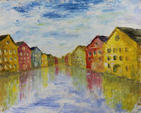 Abstract Venice, oil painting Stock Image