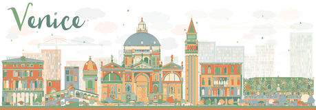 Abstract Venice Skyline Silhouette with Color Buildings. Vector Illustration. Business Travel and Tourism Concept with Historic Buildings. Image for Stock Photos