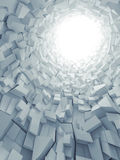 Abstract vertical digital background, 3d. Abstract vertical digital background, white tunnel interior with glowing end and walls made of technological chaotic Stock Photography