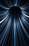 Tunnel of glowing blue lines over black, 3d. Abstract vertical digital background, dark turning tunnel with pattern of glowing blue lines over black, 3d render Stock Photo