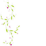 Abstract vertical floral background with place for your text. Vector branch with leaves and hearts for greeting and invitation car Royalty Free Stock Image