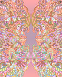 Abstract vertical vector card with elements of zentangle. Royalty Free Stock Images