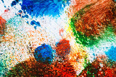 Abstract vibrant acrylic art background. Macro shot of abstract vibrant acrylic art background. Multicolor light and bright texture. Fragment of artwork. Spots stock illustration