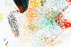 Abstract vibrant acrylic art background. Multicolor light and bright texture. Fragment of artwork. Spots of acrylic paint. Modern contemporary art Stock Photos