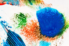 Abstract vibrant acrylic art background. Multicolor light and bright texture. Fragment of artwork. Spots of acrylic paint. Modern contemporary art Stock Photo