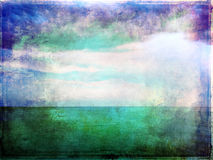 Abstract vibrant image of sea and sky. Canvas texture Royalty Free Stock Images