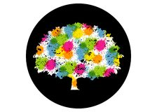 Abstract vibrant tree logo design. This is a tree logo, it`s good for symbolize of grow, human care, ecological, environment. Protection, association, and stock illustration
