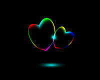 Abstract Vibrant Valentine�s day Heart Symbols on black background Royalty Free Stock Photography