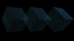 Abstract video background with three 3d wireframe cubes moving on black area, changing colors, zooming. FullHD video 1920x1080 stock video footage