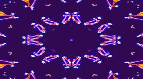 Abstract video that shines, bright light that arranges subtle colorful movements with waves of flower shape, black backg