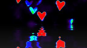Abstract video that shines, bright light that arranges subtle colorful movements with waves of love shape, black backg