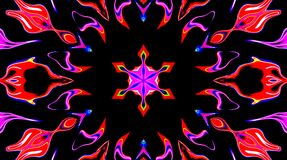 Abstract video that shines, bright light that arranges subtle colourful movements with a flower shape, black background