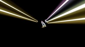 Abstract video that shines, a radiant light that governs subtle, colorful movements with a flower shape, black background