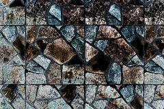 Abstract vierkant pixelmozaïek op muurtextuur en achtergrond Stock Afbeelding
