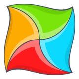 Abstract vierkant vormpictogram, beeldverhaalstijl Stock Afbeelding