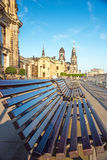 Abstract view with the benches in the old city of Dresden, Germa Royalty Free Stock Image