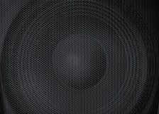 Abstract view of a big, large powerful speaker with detailed protective metal grille in front Stock Image