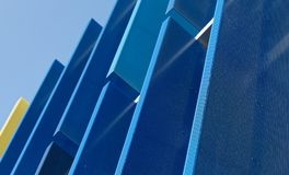 Abstract view of a blue facade with large plastic panels. Germany Stock Photos