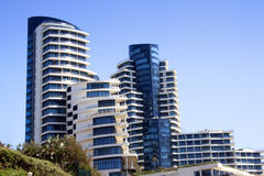 Abstract View of Blue And White Coastal Residential Complex Stock Photo