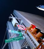 Abstract view of Broadway on Times Square. New York with traffic signals and signs Stock Photography