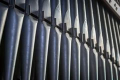 Church Organ Pipes. An abstract view of church organ pipes stock photography
