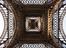 Abstract botom view Eiffel tower structure Stock Photography