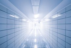 Abstract view of empty hallway with geometric lines Stock Photo