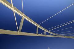 Abstract view of a large suspension bridge Stock Images
