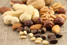 Abstract view of the mixture of nuts. On the background of natural fabrics Stock Photography