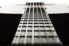 Neck of classical closeup guitar with shallow depth of field ab Royalty Free Stock Image