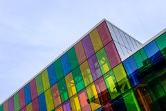 Free Abstract View Of A Modern, IT Based Building And Offices Showing The Coloured Glass Windows. Royalty Free Stock Images - 106258969