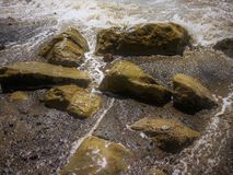 Rocky shallow water abstract. Abstract view of  shallow sea water swirling around some rocks Stock Photography