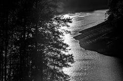 Abstract view with sun reflectin of lake fontana Royalty Free Stock Photos