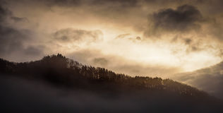 Abstract view of sunrise over the mountain,Japan Royalty Free Stock Images