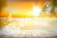 View of a tropical beach with a sailboat. Sunrise. Vector Illustration. Royalty Free Stock Photo