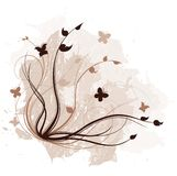 Abstract Vines. An abstract grunge background with vines and butterflies royalty free illustration