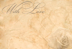 "Abstract vintage background. (old crumpled paper with words ""With Love"" and a rose Royalty Free Stock Image"