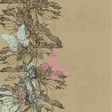 Abstract vintage background with flowers and butterflies. Vector.  Royalty Free Stock Photo