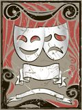 Abstract vintage background with theater masks. And banners royalty free illustration