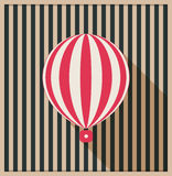 Abstract Vintage Card With Hot Air Balloon And Background Made Of Stripes. Abstract Vintage Card With Hot Air Balloon And Background Made Of Retro Stripes Stock Photography