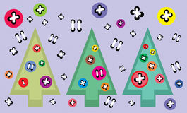 Abstract vintage Christmas fir trees set -  illustration Stock Photography
