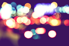 Abstract Vintage City Traffic Lights Bokeh Stock Image