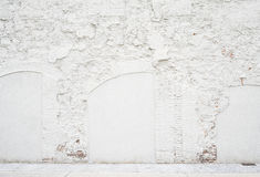 Abstract vintage empty background.Photo of grungy white painted brick wall texture. White washed brickwall surface stock image