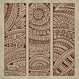 Abstract vintage ethnic pattern card set Stock Photos