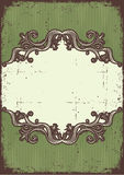Abstract vintage frame. Vintage frame with vignettes for design on old paper texture stock illustration